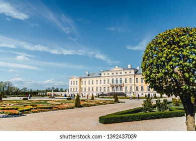 Rundale palace in Latvia spring time, Baroque style castle in europe.