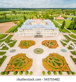 Rundale palace park with palace in background in Latvia 2016, Drone photography.