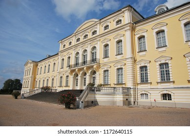 Rundale/Latvia- 1st of September 2018: back facade of Rundale's  looking from French gardens
