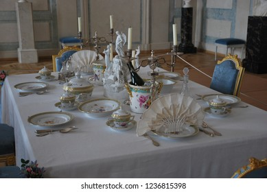 Rundale/Latvia- 1st of September 2018: dining table in Rundale's  palace