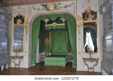 Rundale/Latvia- 1st of September 2018: Duke's sleeping chambers in Rundale's  palace