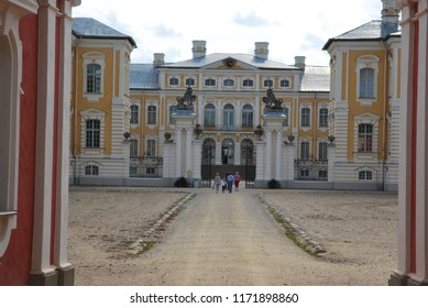 Rundale/Latvia- 1st of September 2018: frontal facade of Rundale's palace
