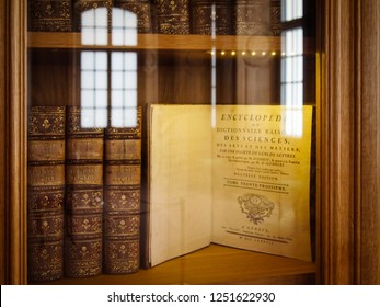RUNDALE/LATVIA - February 13, 2018 - Book shelf with old books at the Rundale palace Library Hall