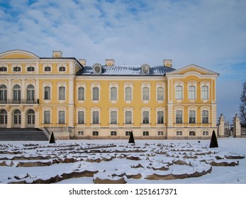 RUNDALE/LATVIA - February 13, 2018 - The facade of Rundale Palace with the castle garden in the foreground in winter