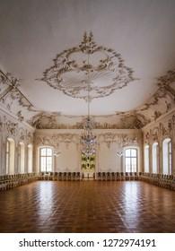 RUNDALE/LATVIA - February 13, 2018 - Historic White hall at the Rundale baroque palace in Latvia