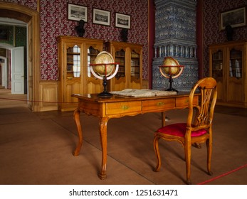 RUNDALE/LATVIA - February 13, 2018 - Interior of the baroque cabinet of Rundale Palace