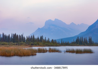 Rundle Mountain and Vermillion Lakes on Smoky Day