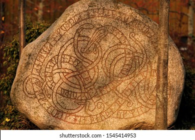rune stone with carved viking runes in Trelleborg Sweden