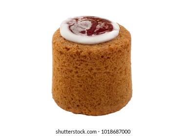 Runeberg cake tart, famous Finnish pastry made of almonds, rum, raspberry jam and icing sugar. Runebergin torttu isolated on white background. Close up, side view