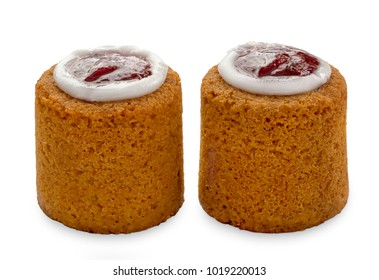 Runebergintorttu, famous Finnish Runeberg cake tart pastry made of almonds, rum, raspberry jam. Close up macro view of two caked isolated on white background. Baked on February 5, Runeberg's birthday