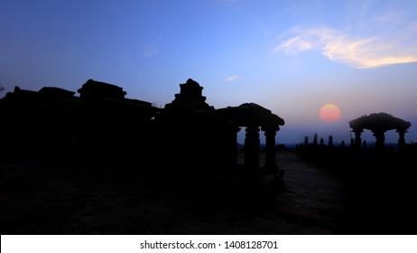 Runes of Hampi in Karanataka state India with sunset