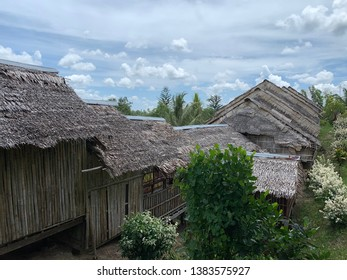 Rungus tribal longhouse in Kudat area this house is made of wood and rattan