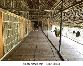 Rungus tribal longhouse in Kudat area. This house is made of material such as nipah roof rattan and bamboo wood