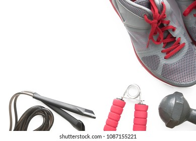 runner accessories on white background,towel, hand grip,a bottle of water,smart phone.healthy lifestyle concept
