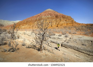 Runner athlete with beard running on the wild trail at red mountains in the desert