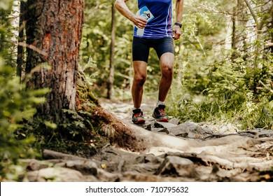 runner athlete running on forest trail water bottle in hand