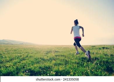 Runner athlete running on grass seaside. woman fitness sunset jogging workout wellness concept.