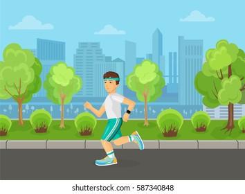 Runner men running on the street city park concept.
