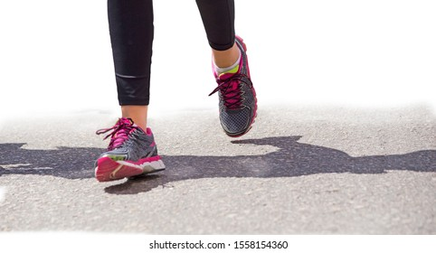 runner 's wooman shoes and feet during city marathon competition event