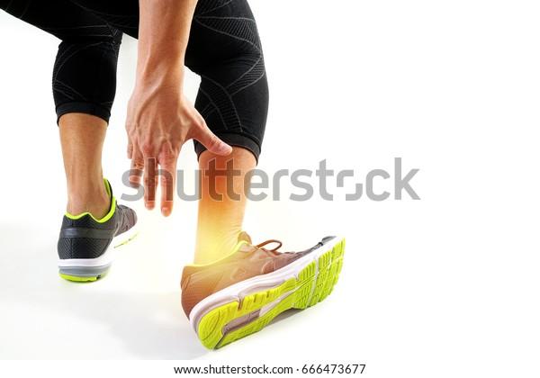 Runner Sportsman Holding Ankle Pain Broken Stock Photo (Edit
