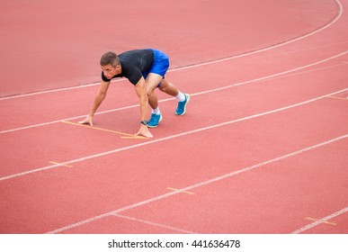 Runner in starting position