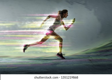 Runner with surreal light effects