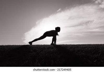 Runner woman getting ready for sunrise jog