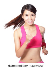 Runner woman isolated. Running fit fitness sport model jogging smiling happy isolated on white background. model is a asian girl