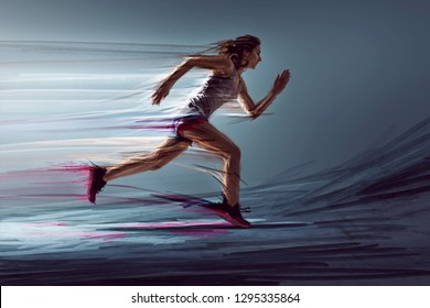 Runner woman with paint effects