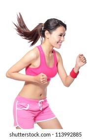 Runner woman in profile. Running fit fitness sport model jogging smiling happy isolated on white background. model is a asian girl