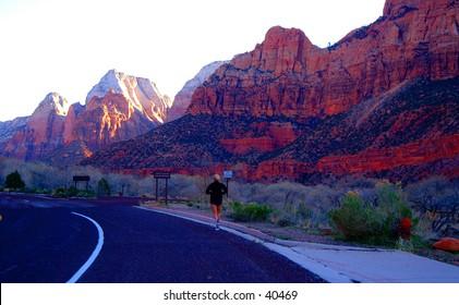 Runner in Zion National Park, Utah