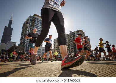 Runners compete in The Chicago Marathon in Chicago, Illinois October 9, 2016. The Chicago Marathon is one of the six World Marathon Majors.