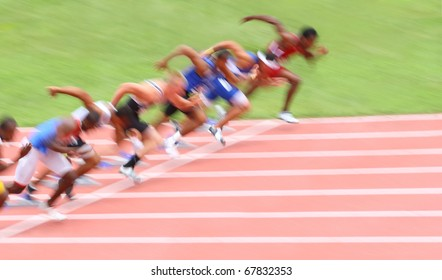 Runners leaving the starting line (Motion blur)