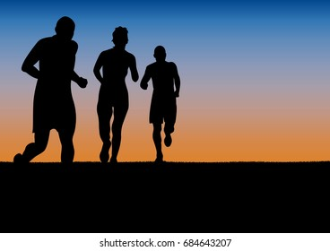 runners, marathon in the city on sunset, poster background