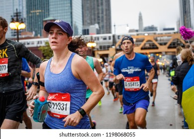 Runners participate in the Chicago Marathon in the city's downtown, October 7, 2018.