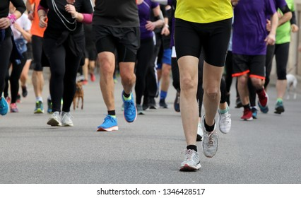 runners run at footrace in the city in spring