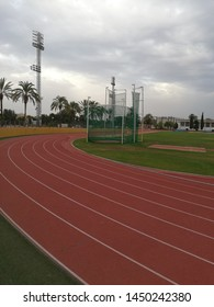 Runnig track outdoor with a grey sky