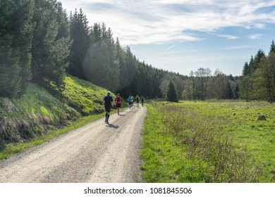 Running along a beautiful path in nature