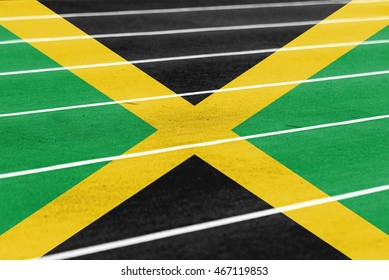 running athletic race track with blending  Jamaica flag