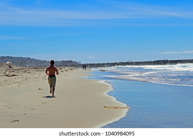 Running in the beach