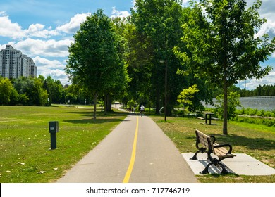 Running and bike trail in Ann Street park along the Thames River in London, Ontario
