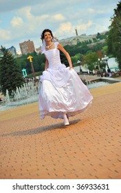 The running bride.