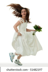running bride holding bouquet on the white background