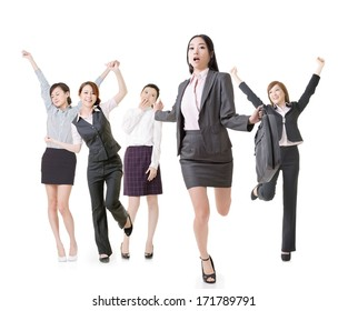 Running business woman lead her excited team, full length portrait of group people isolated on white background.