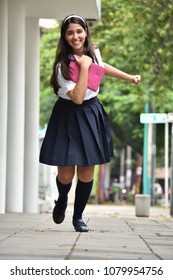 Running Colombian School Girl Student Teenager