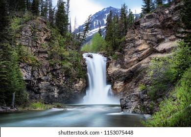 Running Eagle Falls Glacier National Park Montana