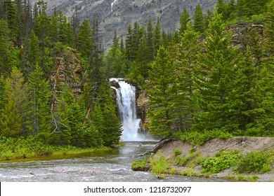 Running Eagle Falls in the Valley of Two Medicine Lake in Glacier National Park. Park is a World Heritage sites and located in the U.S. state of Montana, on the Canada–United States border.