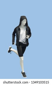 Running female mannequin, isolated. No brand names or copyright objects.