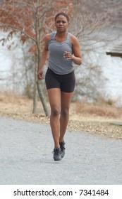 Running girl in the park