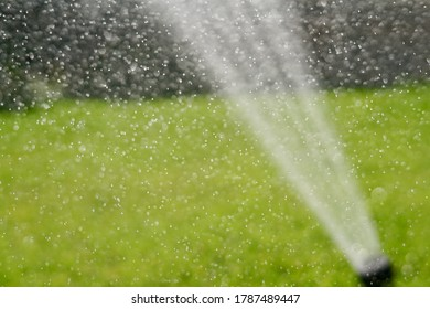 Running hose on the lawn, watering the grass, bright colorful summer background, water drops hanging in the air